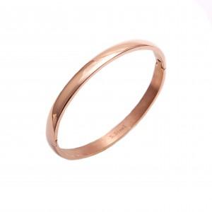 Women's Handcuffs Bracelet Opened by Steel in Pink Gold AJ (BK0078)