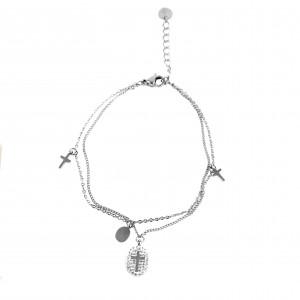 Women's Double Cross Bracelet with Zircon Steel in Silver Color AJ (BK0098A)