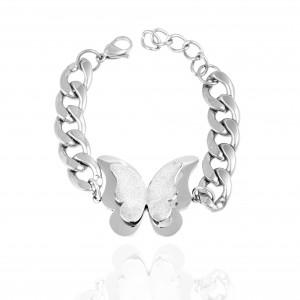 Women's Bracelet-Chained Steel with Butterfly in Silver AJ (BK0110A)