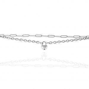 Chain - Bracelet with Heart from Steel in Silver AJ (BK0131A)