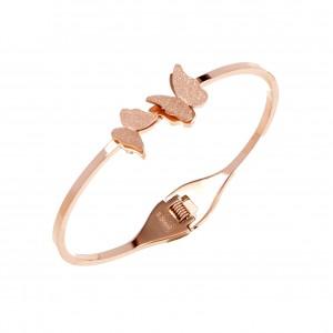 Butterflies-Bracelet Steel Butterflies in Rose Gold AJ (BK0135RX)