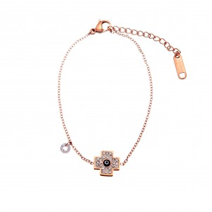 Bracelet-Chain Women's Cross in Steel in Pink Gold AJ (BK0140RX)