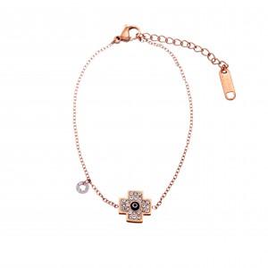 Bracelet-Chain Women's Cross in Steel in Pink Gold AJ (BK0140RX)