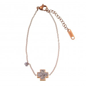 Bracelet-Chain Women's Cross in Steel in Pink Gold AJ (BK0141RX)