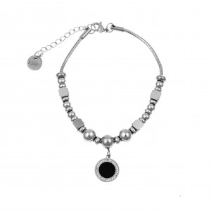 Women's Steel Bracelet with Zircon Stones in Silver AJ (BK0156A)