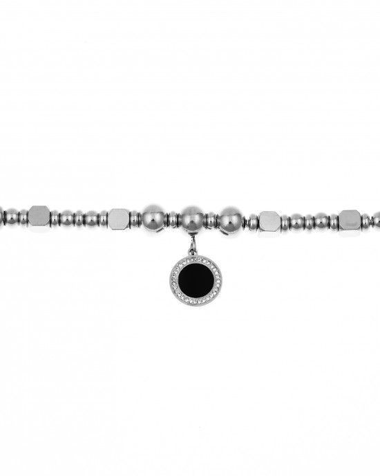 Women's Steel Bracelet with Zircon Stones in Silver AJ (BK0156A)
