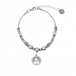 Women's Steel Tree Bracelet with Zircon Stones AJ (BK0157A)
