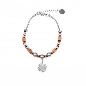 Women's Steel Bracelet with Zircon Stones in Pink Gold AJ (BK0179RX)