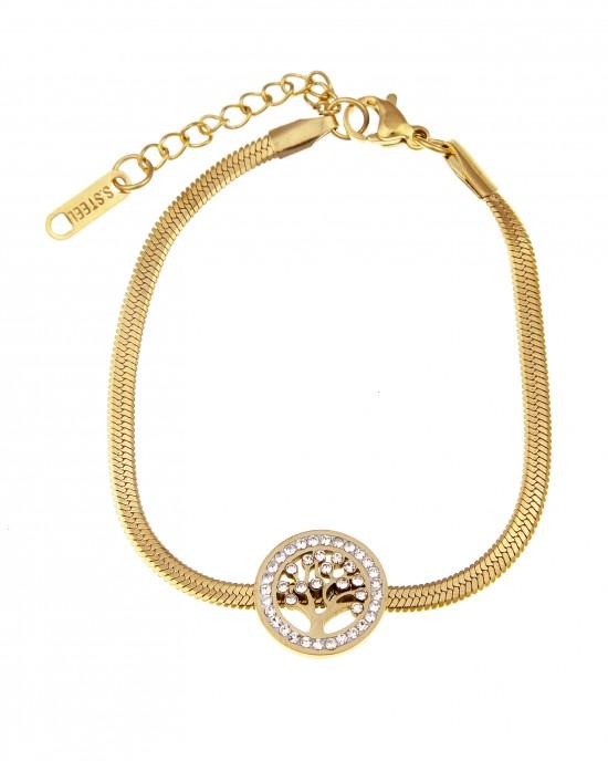 Women's Steel Tree Bracelet in Yellow Gold AJ (BK0160X)