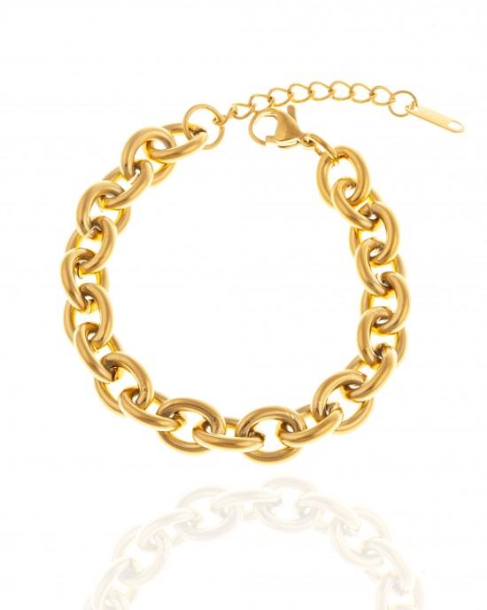 Bracelet - Women's Chain from Steel to Gold AJ (BK0172X)