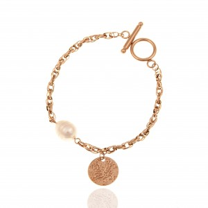 Bracelet-Chain with Pearl Steel in Pink Gold AJ (BK0185RX)