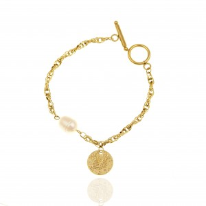 Bracelet-Chain with Pearl from Steel to Yellow Gold AJ (BK0186X)
