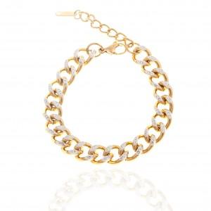 Women's Steel Bracelet with Stones in Yellow Gold AJ (BK0201X)