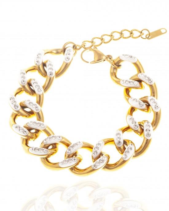 Steel Bracelet in Yellow Gold with Stones AJ(BK0203X)
