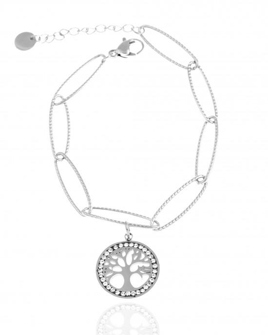 Bracelet - Chain Life Tree from Steel to Silver AJ (BK0212A)