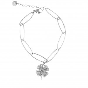 Bracelet - Chain Four Leaf Steel Clover in Silver AJ (BK0214A)