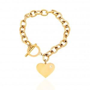 Chain Bracelet with Heart from Steel in Gold AJ (BK0232X)