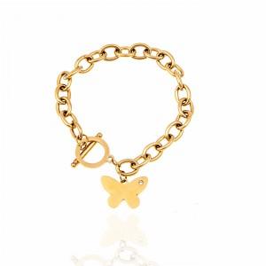 Chain Butterfly with Steel Butterfly in Gold AJ (BK0233X)