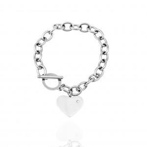 Chain Bracelet with Heart from Steel in Silver AJ (BK0234A)