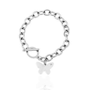 Steel Butterfly Chain Bracelet with Silver AJ (BK0235A)