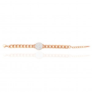 Bracelet-Chain with Stones in Steel in Pink Gold AJ (BK0243RX)