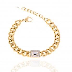 Bracelet-Women's Chain from Steel to Gold AJ (BK0254X)