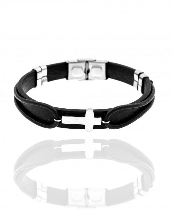 Men's Leather and Steel Cross Bracelet AJ (BKA0097A)