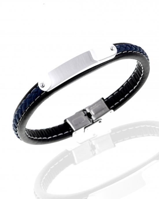 Men's Leather Bracelet from Steel to Silver AJ (BKA0098A)