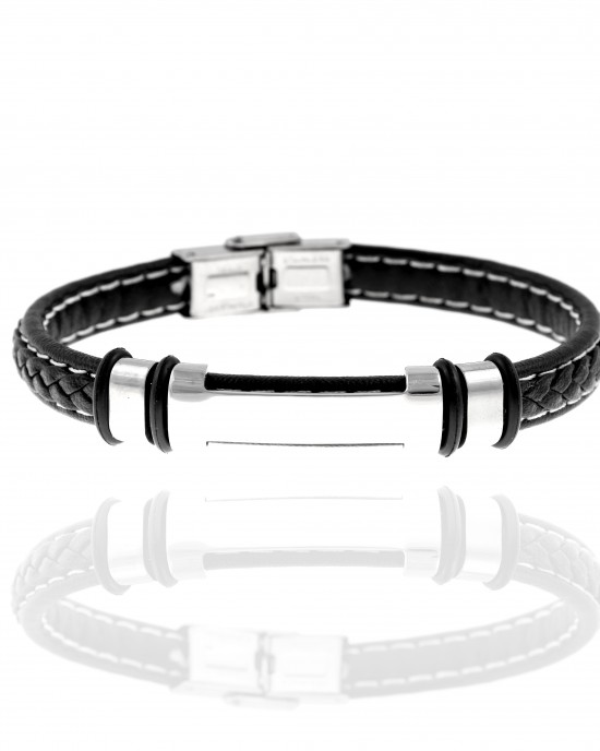 Men's Leather Bracelet from Steel to Silver AJ (BKA0099A)