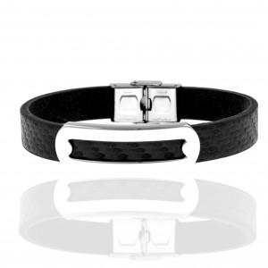 Men's Leather Bracelet from Steel to Silver AJ (BKA00100A)