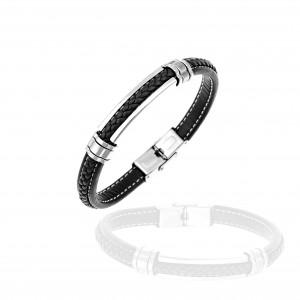 Men's Leather Bracelet from Steel to Silver AJ (BKA00101A)