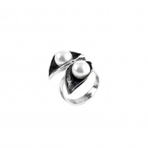 Silver 925 Ring Women's Leaves with Stones Pearls AJ (DA0013A)