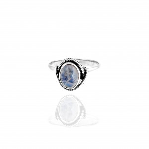 Sterling Silver 925 Ring - Single Stone with Silver AJ (DA0019A)