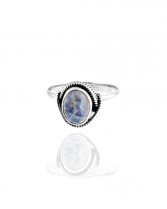 Sterling Silver 925 Ring - Single Stone with Silver AJ (DA0019A)