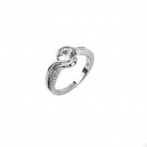 Silver 925 Women's hand-flattened single stone ring with Zircon in Silver No52 AJ(DA0021A)