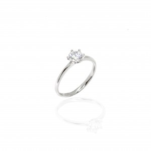 Sterling Silver 925 Ring - Single Stone with Silver AJ(DA0024A)