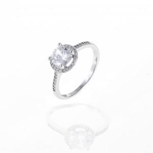 Sterling Silver 925- Single Stone Ring with Silver AJ (DA0028A)