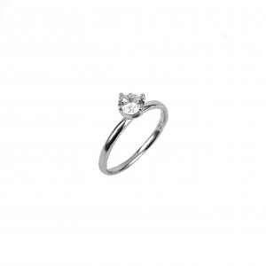 Silver-Platinum Feminine Ring with Single Stone with Stone Zircon in Silver Color N0 58 ΑJ (DA0031A)