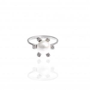 Sterling Silver 925 Ring with Pearl in Silver AJ(DA0031A)