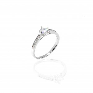 Sterling Silver 925 Single Stone Ring for Women in Silver AJ (DA0095A)