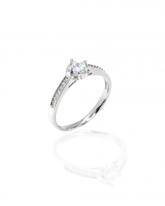 Sterling Silver 925 Single Stone Ring for Women in Silver AJ (DA0095A)