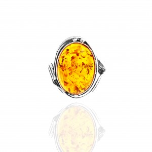 Sterling Silver 925 Amber Ring with Silver AJ (DA0039A)