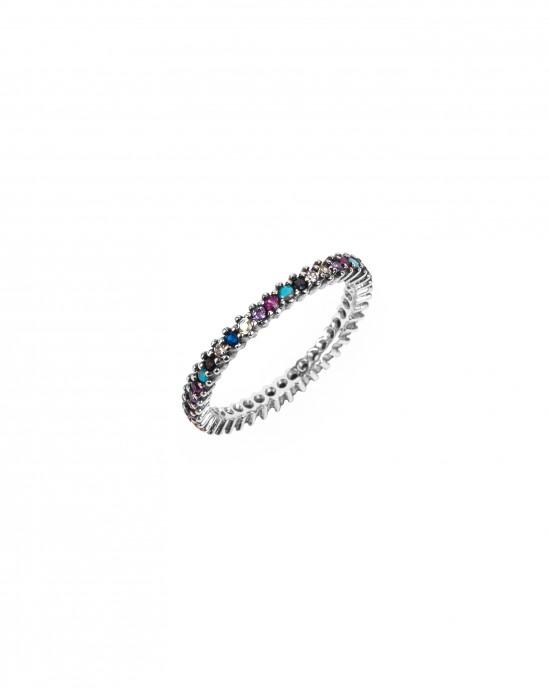 Silver 925-Platinum Ring Witch Woman with Zircon Stones in Silver Color AJ (DA0058A) NO57