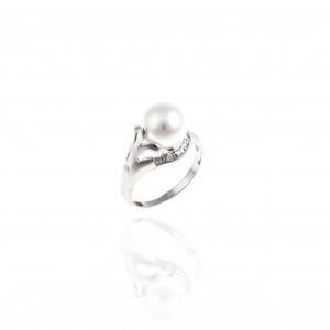 Sterling Silver 925 Single Stone Ring with Silver AJDA0062A)