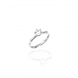 Sterling Silver 925 Ring-Single Stone with Silver AJ (DA0063)