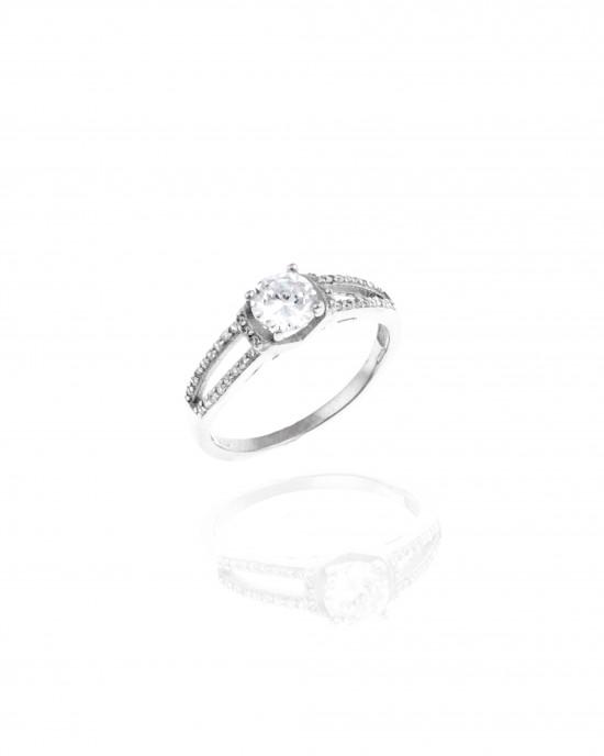 Sterling Silver 925 Ring-Single Stone with Stones in Silver AJ (DA0067)