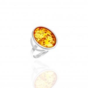 Silver 925- Ring with Amber in Silver AJ (DA0069A)