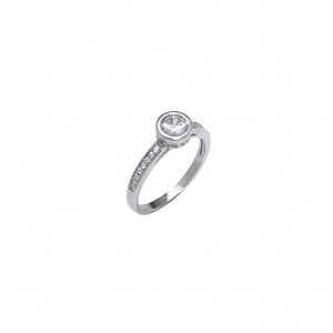 Silver 925-Platinum Ring Women's Single Stone with Stone Zircon in Silver Color AJ (DA0070) NO58