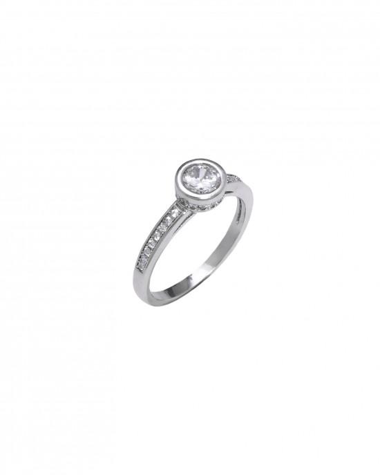 Silver 925-Platinum Ring Women's Single Stone with Stone Zircon in Silver Color AJ (DA0070) NO58