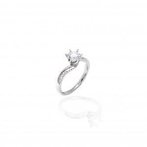 Sterling Silver 925 Ring-Single Stone with Silver AJ (DA0094A)